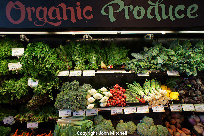 Organic produce for sale in natural food store in Vancouver, British Columbia, Canada