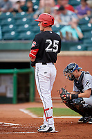 Chattanooga Lookouts first baseman Brent Rooker (25) at bat in front of catcher Marcus Littlewood (16) during a game against the Jackson Generals on May 9, 2018 at AT&T Field in Chattanooga, Tennessee.  Chattanooga defeated Jackson 4-2.  (Mike Janes/Four Seam Images)
