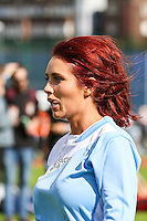 London, UK on Sunday 31st August, 2014. Amy Childs during the Soccer Six charity celebrity football tournament at Mile End Stadium, London.
