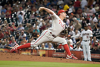 Philadelphia Phillies starting pitcher Roy Oswalt #44 delivers a pitch during the Major League Baseball game against the Houston Astros at Minute Maid Park in Houston, Texas on September 12, 2011. Houston defeated Philadelphia 5-1.  (Andrew Woolley/Four Seam Images)