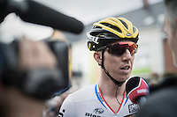 Sep Vanmarcke (BEL/LottoNL-Jumbo) interviewed at the start<br /> <br /> 101st Kampioenschap van Vlaanderen 2016 (UCI 1.1)<br /> Koolskamp &rsaquo; Koolskamp (192.4km)