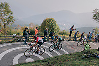 Tiesj Benoot (BEL/Lotto-Soudal) & Davide Formolo (ITA/Bora Hansgrohe) up the infamous/brutal Muro di Sormano (avg 17%/max 25%)<br /> <br /> 112th Il Lombardia 2018 (ITA)<br /> from Bergamo to Como: 241km