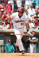 University of South Carolina Gamecocks left fielder Evan Marzilli #31 heading down to 1st base after being walked during the 2nd and deciding game of the NCAA Super Regional vs. the University of Coastal Carolina Chanticleers on June 13, 2010 at BB&T Coastal Field in Myrtle Beach, SC.  The Gamecocks defeated Coastal Carolina 10-9 to advance to the 2010 NCAA College World Series in Omaha, Nebraska. Photo By Robert Gurganus/Four Seam Images