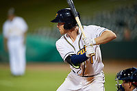 Montgomery Biscuits second baseman Riley Unroe (1) at bat during a game against the Mississippi Braves on April 26, 2017 at Montgomery Riverwalk Stadium in Montgomery, Alabama.  Montgomery defeated Mississippi 5-2.  (Mike Janes/Four Seam Images)