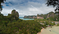 Aerial panorama view of Railay beach from the cliff, Krabi, Thailand
