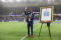 ORLANDO, FL - NOVEMBER 15: DaMarcus Beasley retired USMNT player being honored during a game between Canada and USMNT at Exploria Stadium on November 15, 2019 in Orlando, Florida.