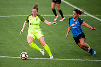 Kansas City, MO - Saturday June 17, 2017: Lindsay Elston, Lo'eau Labonta during a regular season National Women's Soccer League (NWSL) match between FC Kansas City and the Seattle Reign FC at Children's Mercy Victory Field.