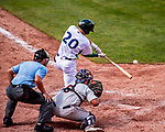 3 September 2018: Vermont Lake Monsters infielder Max Schuemann at bat against the Tri-City ValleyCats at Centennial Field in Burlington, Vermont. The Lake Monsters defeated the ValleyCats 9-6 in the last game of the 2018 NY Penn League regular season. Mandatory Credit: Ed Wolfstein Photo *** RAW (NEF) Image File Available ***