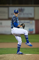 Ogden Raptors relief pitcher Wes Helsabeck (27) delivers a pitch during a Pioneer League game against the Billings Mustangs at Lindquist Field on August 17, 2018 in Ogden, Utah. The Billings Mustangs defeated the Ogden Raptors by a score of 6-3. (Zachary Lucy/Four Seam Images)