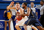 BROOKINGS, SD - NOVEMBER 3:  Reed Tellinghuisen #23 from South Dakota State applies pressure to Jamall Taylor #3 from SD School of Mines in the first half of their exhibition game Thursday evening at Frost Arena in Brookings. (Photo by Dave Eggen/Inertia)