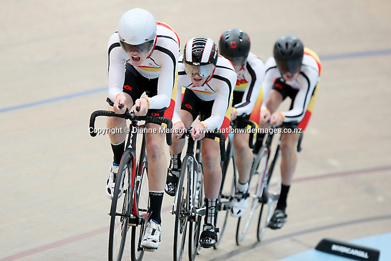 Southland's Brayden Stephens, Hamish Beadle, Hayden Strong and Tom Sexton compete against WCNI in the M17 3000m team pursuit at the Age Group and Omnium track national championships, SIT Zero Fees Velodrome, Invercargill, New Zealand, Sunday, March 09, 2013. Credit:NINZ/Dianne Manson