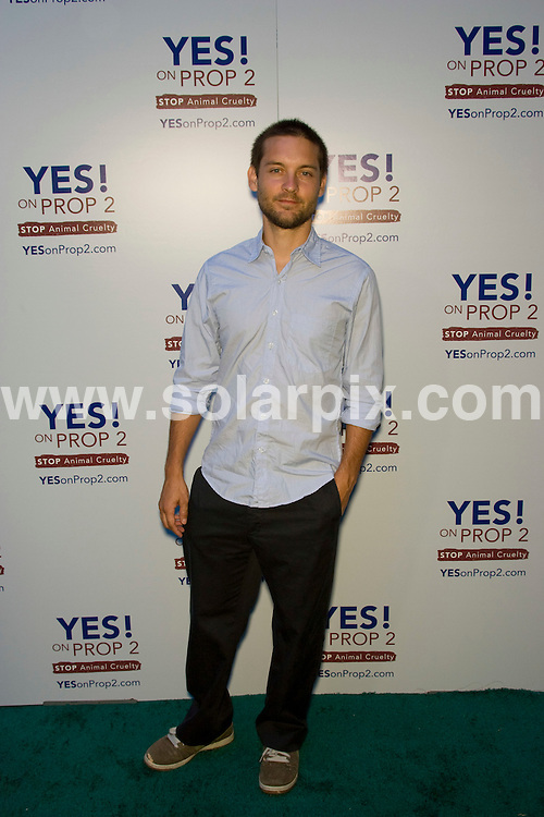 **ALL ROUND PICTURES FROM SOLARPIX.COM**.**SYNDICATION RIGHTS FOR UK, SPAIN, PORTUGAL, AUSTRALIA, S.AFRICA & DUBAI (U.A.E) ONLY**.Yes on Prop 2 Benefit held at a Private Residence in Westwood, California, USA. 28th September 2008..This pic: Tobey Maguire..JOB REF: 7484 PHZ (Hatcher)   DATE: 28_09_2008.**MUST CREDIT SOLARPIX.COM OR DOUBLE FEE WILL BE CHARGED* *UNDER NO CIRCUMSTANCES IS THIS IMAGE TO BE REPRODUCED FOR ANY ONLINE EDITION WITHOUT PRIOR PERMISSION*