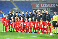 Wales line up for the athem prior to kick off of the International Friendly match between Wales and Panama at The Cardiff City Stadium, Wales, UK. Tuesday 14 November 2017