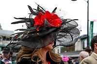 LOUISVILLE, KY - MAY 05: A woman wears a fancy hat on Kentucky Oaks Day at Churchill Downs on May 5, 2017 in Louisville, Kentucky. (Photo by Jesse Caris/Eclipse Sportswire/Getty Images)