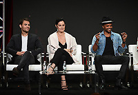 "BEVERLY HILLS - AUGUST 1: Paul Wesley, Carrie-Anne Moss, Eka Darville onstage during the ""Tell Me A Story"" panel at the CBS All Access portion of the Summer 2019 TCA Press Tour at the Beverly Hilton on August 1, 2019 in Los Angeles, California. (Photo by Frank Micelotta/PictureGroup)"