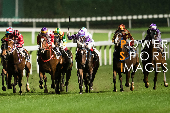 Jockeys riding their horses during Hong Kong Racing at Happy Valley Race Course on November 22, 2017 in Hong Kong, Hong Kong. Photo by Marcio Rodrigo Machado / Power Sport Images