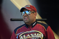 Jul, 21, 2012; Morrison, CO, USA: NHRA top fuel dragster driver Khalid Albalooshi during qualifying for the Mile High Nationals at Bandimere Speedway. Mandatory Credit: Mark J. Rebilas-