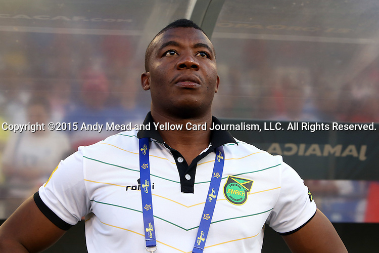 18 July 2015: Jamaica assistant coach Miguel Coley. The Jamaica Men's National Team played the Haiti Men's National Team at M&T Bank Stadium in Baltimore, Maryland in a 2015 CONCACAF Gold Cup quarterfinal match. Jamaica won the game 1-0.