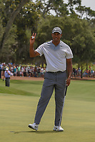 Tiger Woods (USA) sinks his par putt on 18 during round 3 of The Players Championship, TPC Sawgrass, at Ponte Vedra, Florida, USA. 5/12/2018.<br /> Picture: Golffile | Ken Murray<br /> <br /> <br /> All photo usage must carry mandatory copyright credit (&copy; Golffile | Ken Murray)