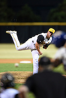 Jacksonville Suns pitcher Frankie Reed (28) delivers the last pitch of game three of the Southern League Championship Series against the Chattanooga Lookouts on September 12, 2014 at Bragan Field in Jacksonville, Florida.  Jacksonville defeated Chattanooga 6-1 to sweep three games to none.  (Mike Janes/Four Seam Images)