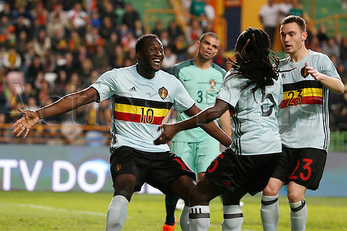 29.03.2016. Leiria, Portugal.  Romelu Lukaku of Belgium celebrates during the FIFA international friendly match between Portugal and Belgium as part of the preparation of the Belgian national soccer team prior to the UEFA EURO 2016  in Leiria, Portugal.