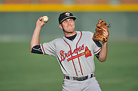 Second baseman Luke Dykstra (4) of the Rome Braves warms up before a game against the Greenville Drive on Thursday, July 28, 2016, at Fluor Field at the West End in Greenville, South Carolina. Greenville won, 5-4. (Tom Priddy/Four Seam Images)