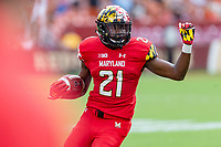 Landover, MD - September 1, 2018: Maryland Terrapins wide receiver Darryl Jones (21) runs the football during game between Maryland and No. 23 ranked Texas at FedEx Field in Landover, MD. The Terrapins upset the Longhorns in back to back season openers with a 34-29 win. (Photo by Phillip Peters/Media Images International)