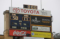A final score on the scoreboard is pictured after the game against ASU at Memorial Stadium in Berkeley, California on October 23rd, 2010.  California defeated Arizona State, 50-17.