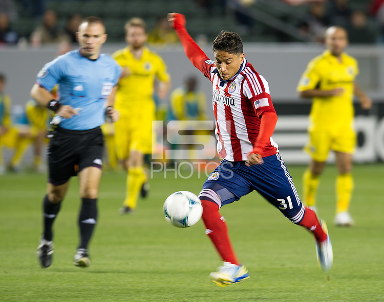 CARSON, CA - March 2, 2013: Chivas midfielder Marvin Iraheta (31) during the Chivas USA vs Columbus Crew match at the Home Depot Center in Carson, California. Final score, Chivas USA 0, Columbus Crew 3.