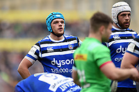 Zach Mercer of Bath Rugby looks on during a break in play. Gallagher Premiership match, between Bath Rugby and Harlequins on March 2, 2019 at the Recreation Ground in Bath, England. Photo by: Patrick Khachfe / Onside Images