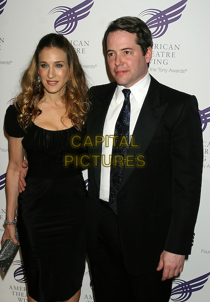 SARAH JESSICA PARKER & MATTHEW BRODERICK.The American Theatre Wing's Annual Spring Gala Honoring Matthew Broderick and Nathan Lane at Cipriani's, New York, NY, USA..April 10th, 2006.Ref: IW.half length black suit married husband wife dress.www.capitalpictures.com.sales@capitalpictures.com.©Capital Pictures