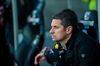 Remi Garde, Manager of Aston Villa looks on during the Barclays Premier League match between Swansea City and Aston Villa played at the Liberty Stadium, Swansea  on March the 19th 2016