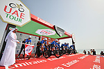 Gazprom-Rusvelo power off the start ramp of Stage 1 of the 2019 UAE Tour, a team time trial running 16km around Al Hudayriat Island, Abu Dhabi, United Arab Emirates. 24th February 2019.<br /> Picture: LaPresse/Massimo Paolone | Cyclefile<br /> <br /> <br /> All photos usage must carry mandatory copyright credit (© Cyclefile | LaPresse/Massimo Paolone)