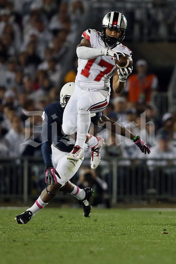 Ohio State Buckeyes running back Jalin Marshall (17) catches a pass in the first quarter of their game at Beaver Stadium in State College, PA on October 25, 2014. (Columbus Dispatch photo by Brooke LaValley)