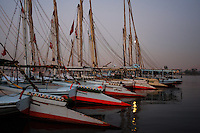 Sunrise in Luxor, Egypt. Felucca mooring on the Nile.