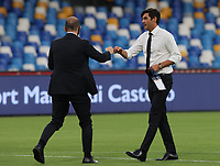 5th July 2020; Stadio San Paolo, Naples, Campania, Italy; Serie A Football, Napoli versus Roma; Paulo Fonseca coach of AS Roma greets a Napoli coach