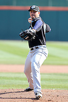 Syracuse Chiefs pitcher Yunesky Maya #15 delivers a pitch during a game against the Buffalo Bisons at Dunn Tire Park on April 7, 2011 in Buffalo, New York.  Syracuse defeated Buffalo 8-5.  Photo By Mike Janes/Four Seam Images