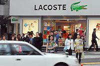 A shop selling Lacoste casual wear in Harajuku, Tokyo, Japan. .