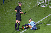 Referee Robert Jones looks over injured Paris Cowan-Hall of Wycombe Wanderers during the Sky Bet League 2 match between Wycombe Wanderers and Yeovil Town at Adams Park, High Wycombe, England on 14 January 2017. Photo by PRiME Media Images.