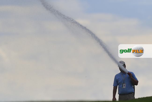 Ground staff water the fairways after Wednesday's Practice Day of the 2016 U.S. Open Championship held at Oakmont Country Club, Oakmont, Pittsburgh, Pennsylvania, United States of America. 15th June 2016.<br /> Picture: Eoin Clarke | Golffile<br /> <br /> <br /> All photos usage must carry mandatory copyright credit (&copy; Golffile | Eoin Clarke)