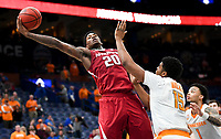 NWA Democrat-Gazette/CHARLIE KAIJO Arkansas Razorbacks forward Darious Hall (20) reaches for a pass during the Southeastern Conference Men's Basketball Tournament semifinals, Saturday, March 10, 2018 at Scottrade Center in St. Louis, Mo. The Tennessee Volunteers knocked off the Arkansas Razorbacks 84-66