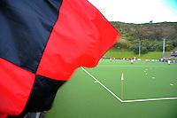 A Hamilton BHS flag flies in the corner during the Rankin Cup boys hockey final match between  Westlake Boys' High School and Hamilton Boys' High School at National Hockey Stadium, Wellington, New Zealand on Friday, 6 September 2013. Photo: Dave Lintott / lintottphoto.co.nz