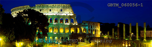 Tom Mackie, LANDSCAPES, panoramic, photos, The Colosseum at Night, Rome, Italy, GBTM060056-1,#L#