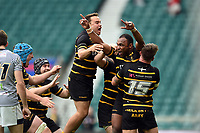 Seti Raumakita of Cornwall celebrates scoring the match-winning try with team-mates. Bill Beaumont County Championship Division 1 Final between Cheshire and Cornwall on June 2, 2019 at Twickenham Stadium in London, England. Photo by: Patrick Khachfe / Onside Images