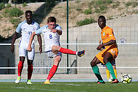 England's Harvey Barnes takes a shot at the Ivory Coast goal during England Under-18 vs Ivory Coast Under-20, Toulon Tournament Final Football at Stade de Lattre-de-Tassigny on 10th June 2017