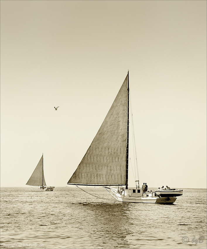 "From the Limited Edition Skipjack Photograph collection of fine art prints ""Heading Out"" is another favorite from Bill Peterson's ""Skipjack Sunday"" collection.  The sepia sea beckons to its watermen."