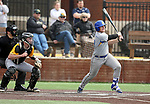 SIOUX FALLS, SD: Josh Falk #19 from South Dakota State University watches the ball for a base hit against North Dakota State University Thursday in Sioux Falls. (Dave Eggen/Inertia)