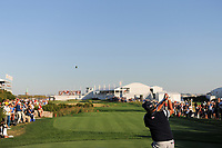 Phil Mickelson (USA) watches his tee shot on 16 during round 1 foursomes of the 2017 President's Cup, Liberty National Golf Club, Jersey City, New Jersey, USA. 9/28/2017.<br /> Picture: Golffile | Ken Murray<br /> ll photo usage must carry mandatory copyright credit (&copy; Golffile | Ken Murray)