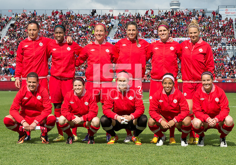 02 June 2013: The Canadian Women's National Team starting eleven during an International Friendly soccer match between the U.S. Women's National Soccer Team and the Canadian Women's National Soccer Team at BMO Field in Toronto, Ontario.<br /> The U.S. Women's National Team Won 3-0.