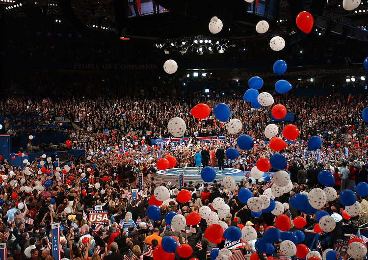 9/02/04.2004 REPUBLICAN NATIONAL CONVENTION--The crowd celebrates after President George W. Bush made his acceptance speech..CONGRESSIONAL QUARTERLY PHOTO BY SCOTT J. FERRELL